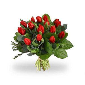 Tulpenboeket rood